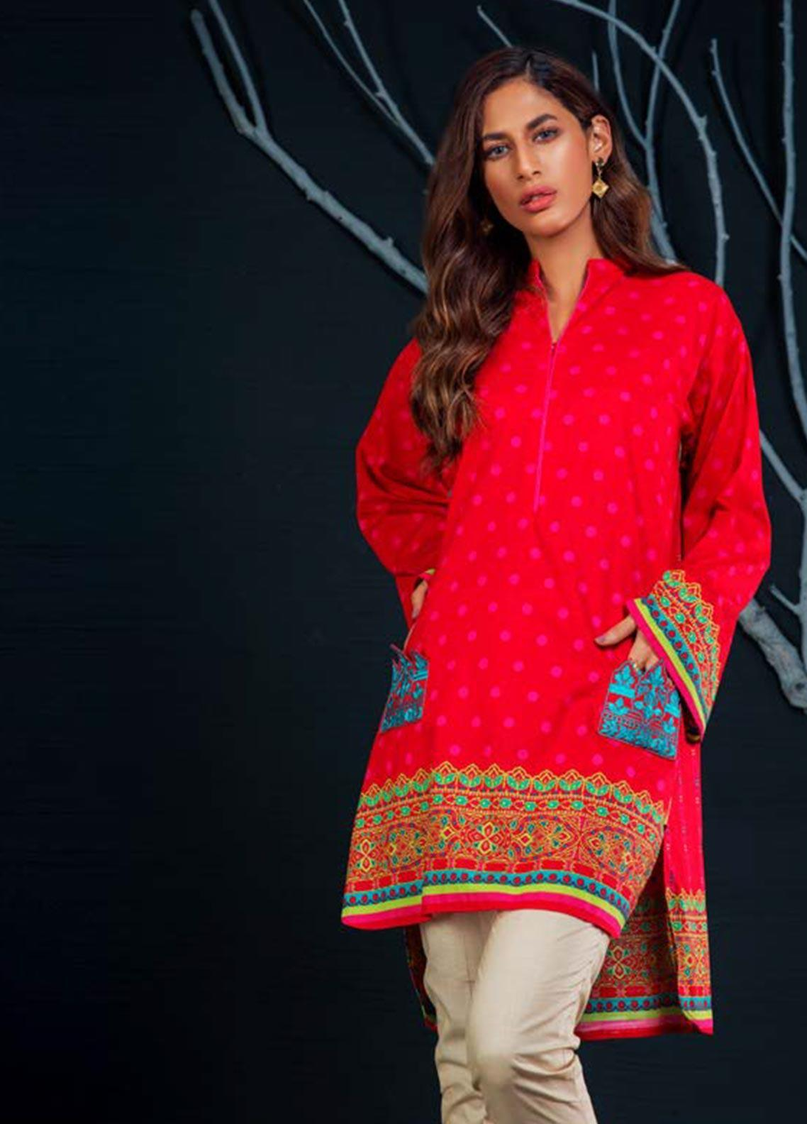 Orient Textile Embroidered Khaddar Unstitched Kurties OT19W 175 FIRE B - Winter Collection