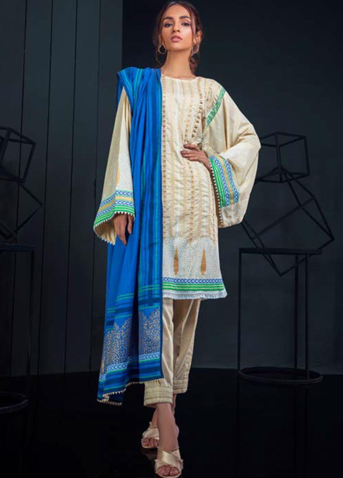Orient Textile Embroidered Karandi Unstitched 3 Piece Suit OT19W 178 CYPRUS B - Winter Collection