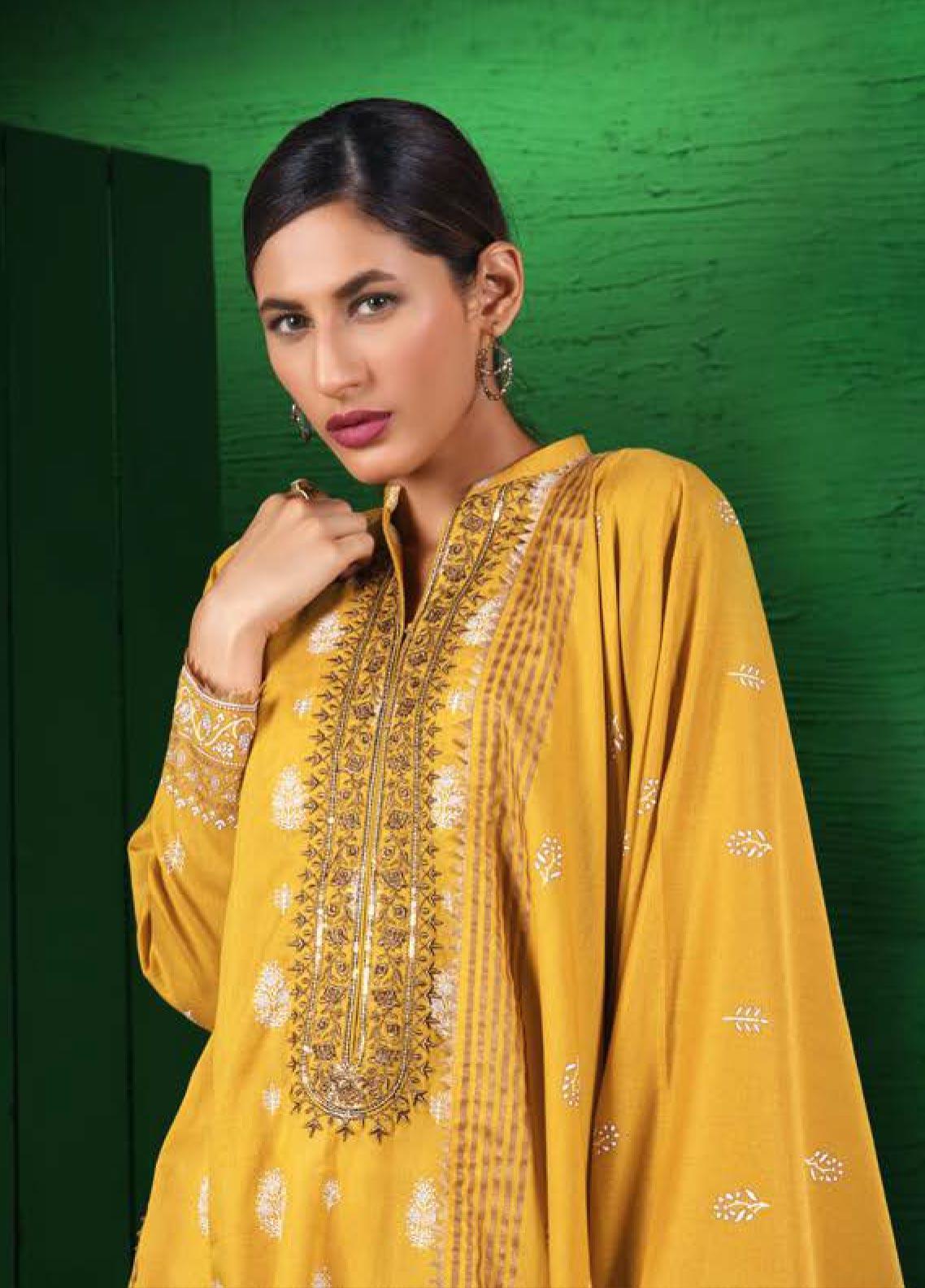 Orient Textile Embroidered Karandi Unstitched 3 Piece Suit OT19W 179 INDIGO A - Winter Collection