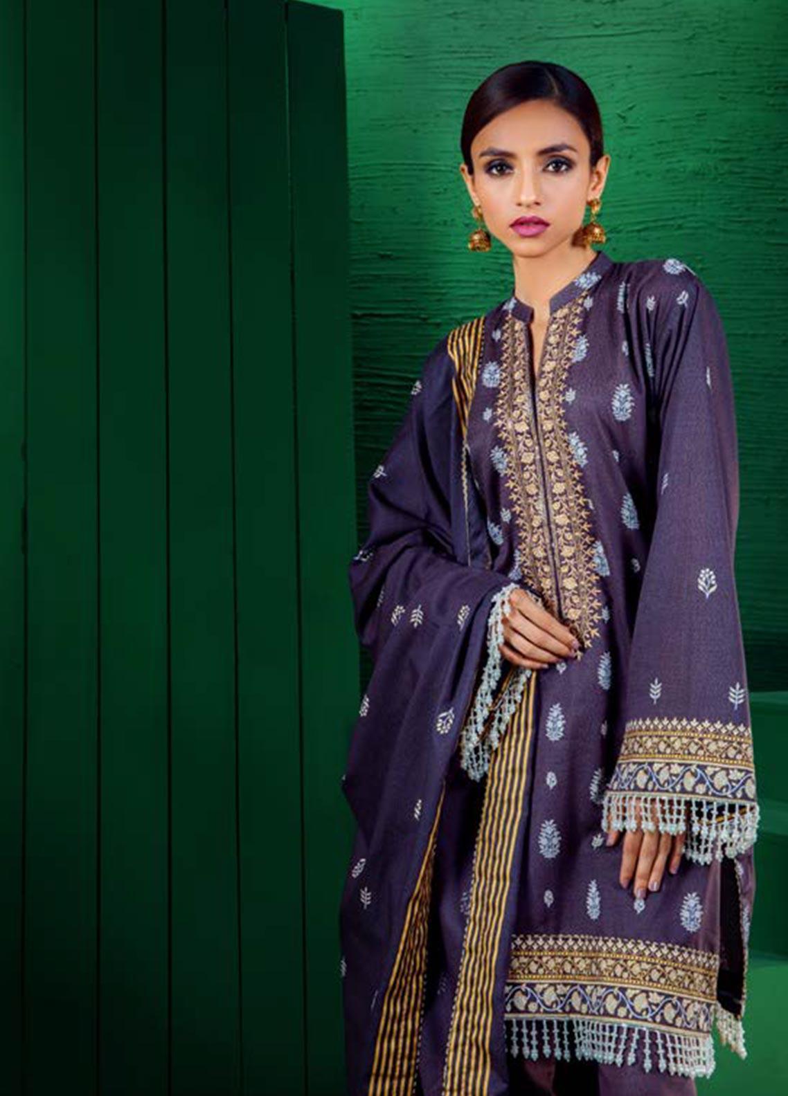 Orient Textile Embroidered Karandi Unstitched 3 Piece Suit OT19W 179 INDIGO B - Winter Collection