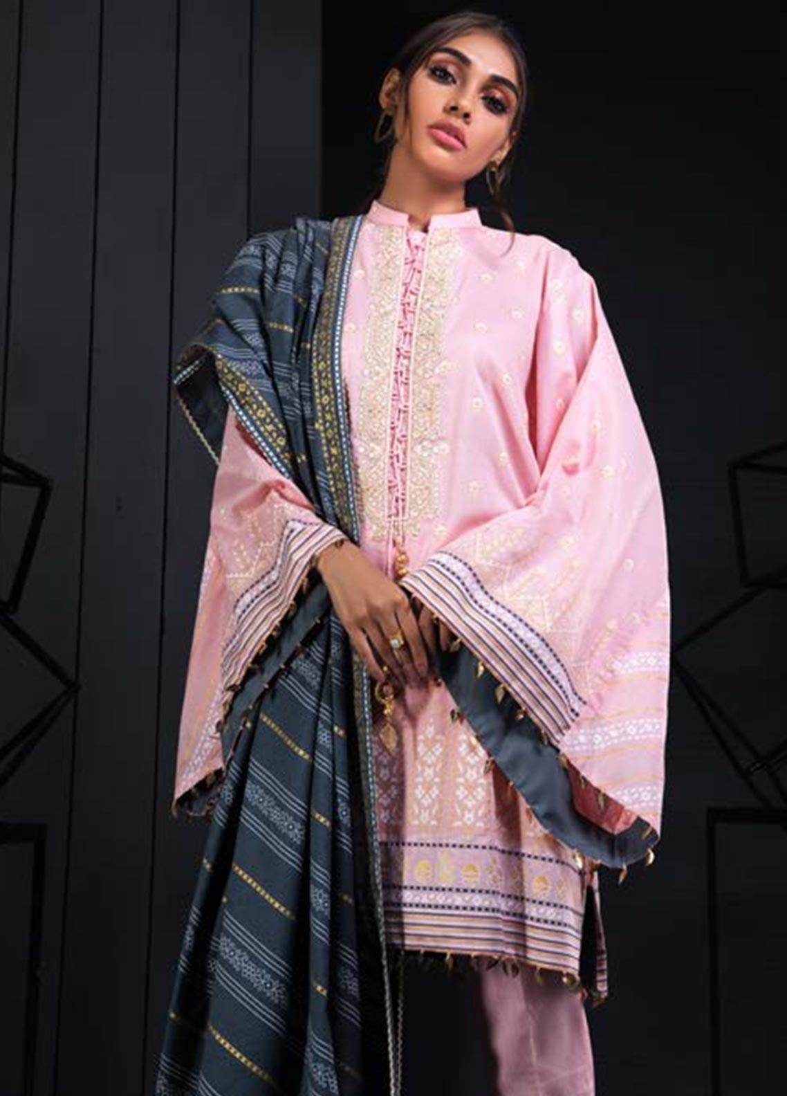 Orient Textile Embroidered Karandi Unstitched 3 Piece Suit OT19W 184 FALSA B - Winter Collection