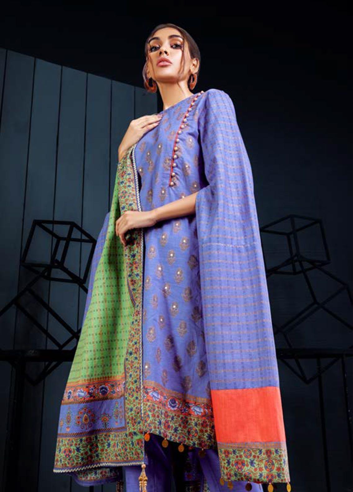 Orient Textile Embroidered Khaddar Unstitched 3 Piece Suit OT19W 188 HARVEST A - Winter Collection