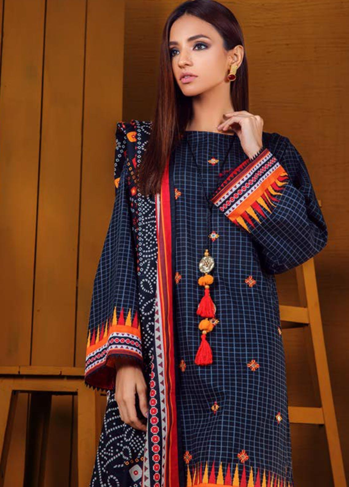 Orient Textile Embroidered Khaddar Unstitched 3 Piece Suit OT19W 209 CAMEO B - Winter Collection
