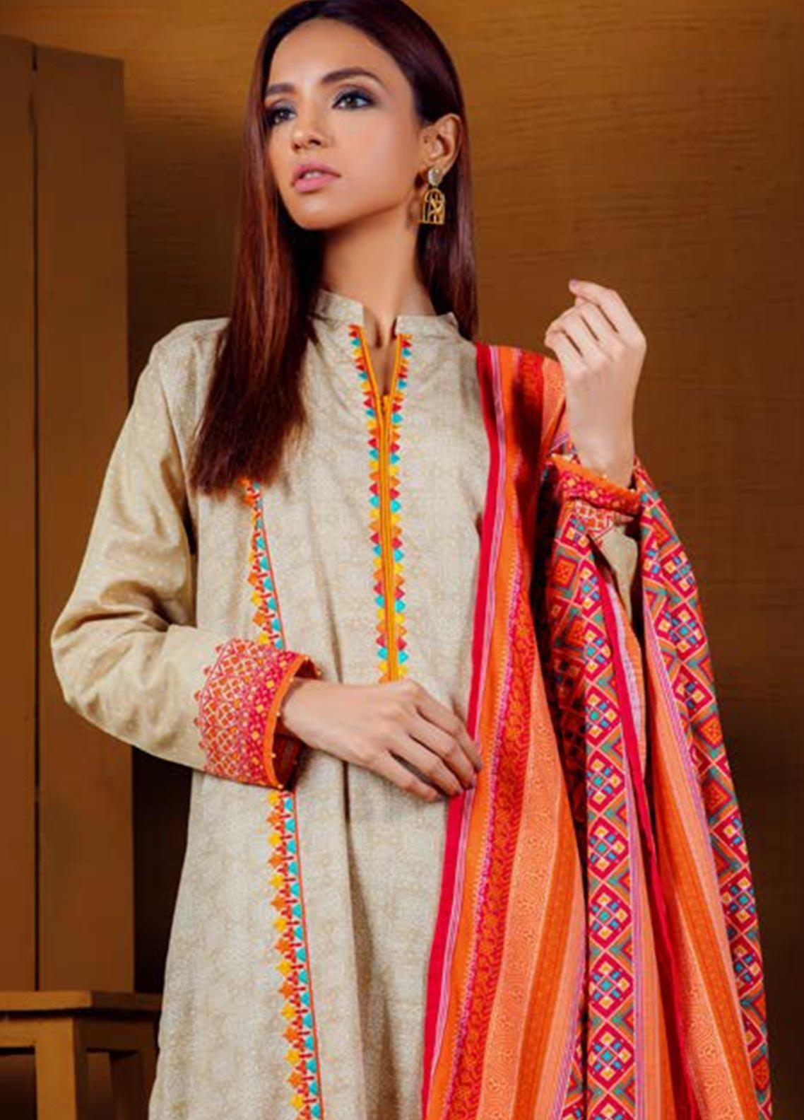 Orient Textile Embroidered Khaddar Unstitched 3 Piece Suit OT19W 211 BLOOM B - Winter Collection