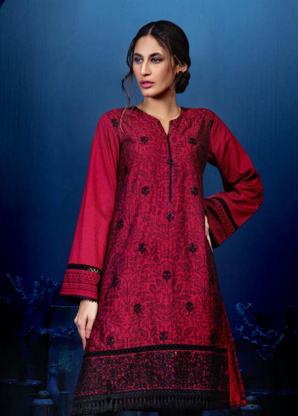 Orient Textile Embroidered Linen Unstitched Kurties OT19W 234 MOLTEN LAVA A - Winter Collection
