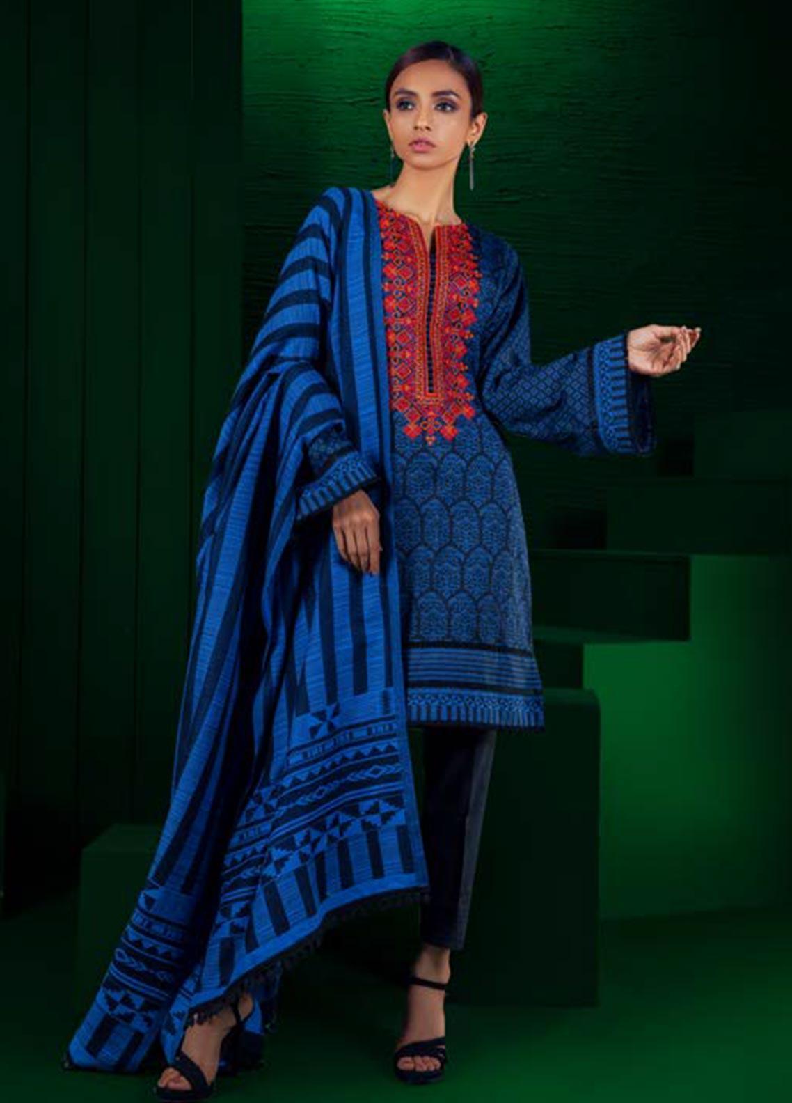 Orient Textile Embroidered Karandi Unstitched 3 Piece Suit OT19W 238 DOLPHIN A - Winter Collection