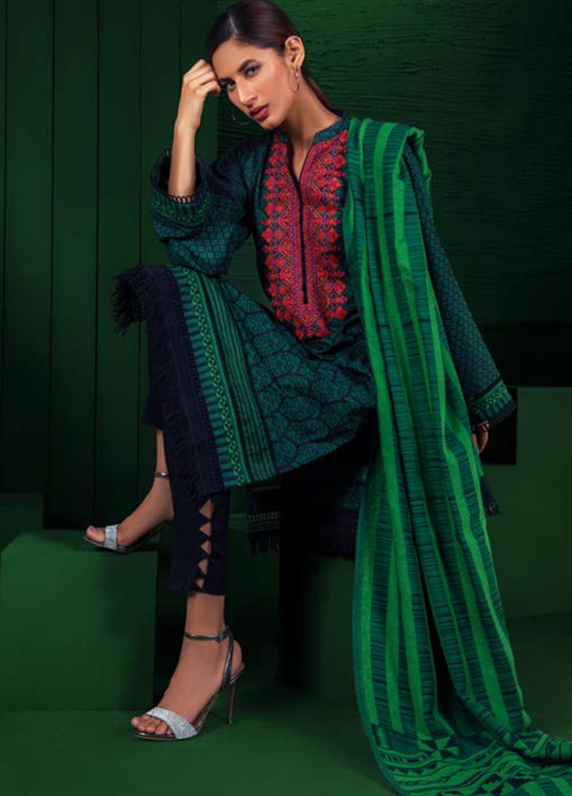 Orient Textile Embroidered Karandi Unstitched 3 Piece Suit OT19W 238 DOLPHIN B - Winter Collection