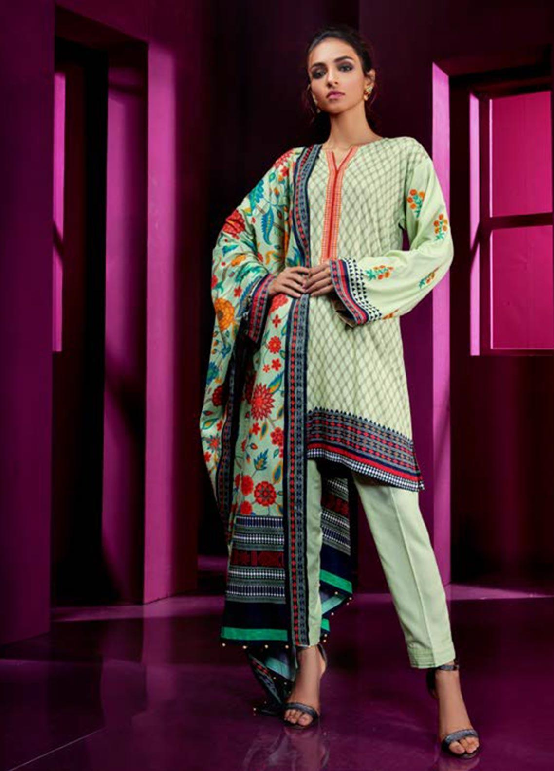 Orient Textile Embroidered Linen Unstitched 3 Piece Suit OT19W 243 MYSTRY B - Winter Collection