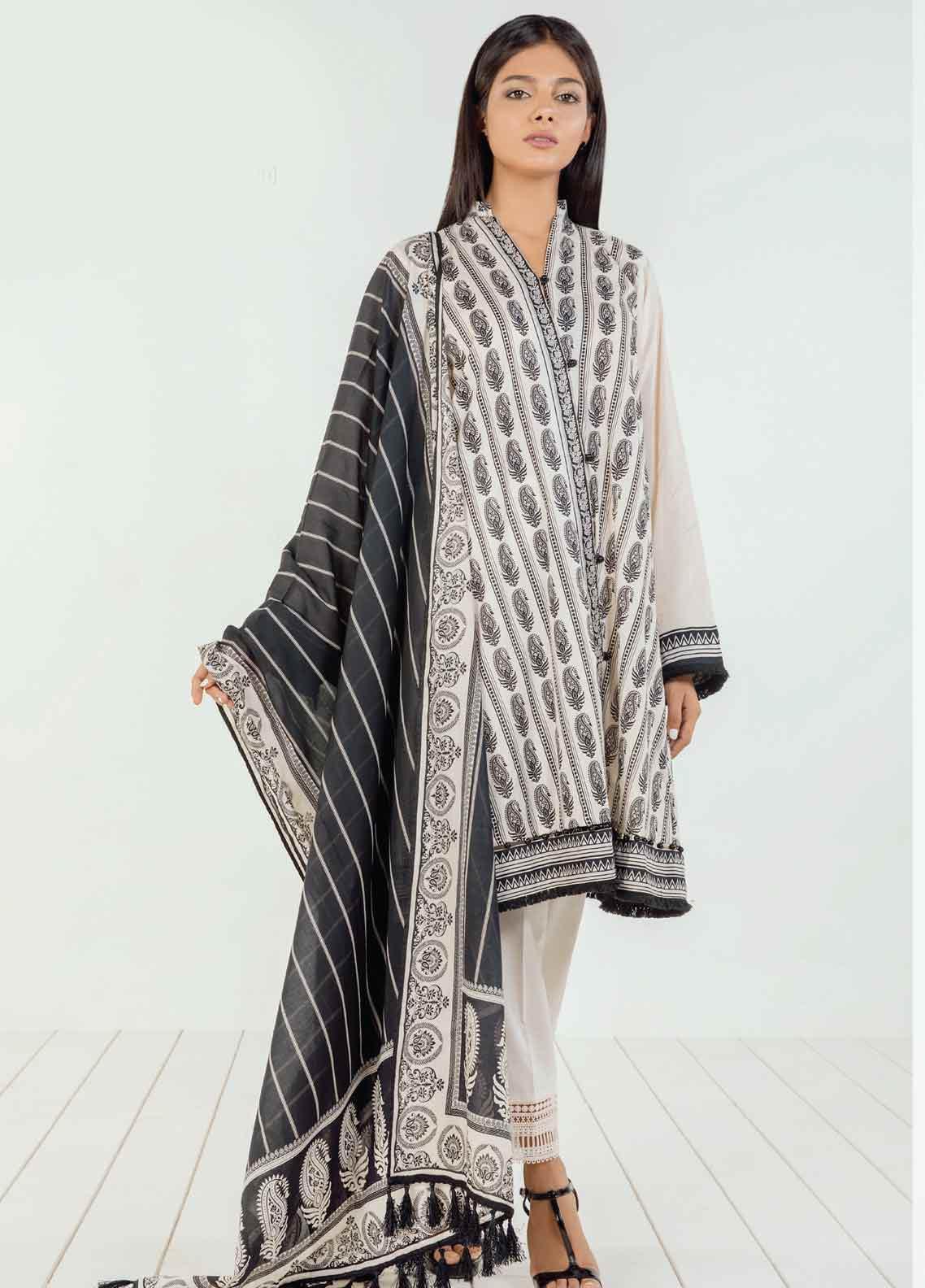 Orient Textile Printed Lawn Unstitched 3 Piece Suit OT19BW 118 - Black & White Collection