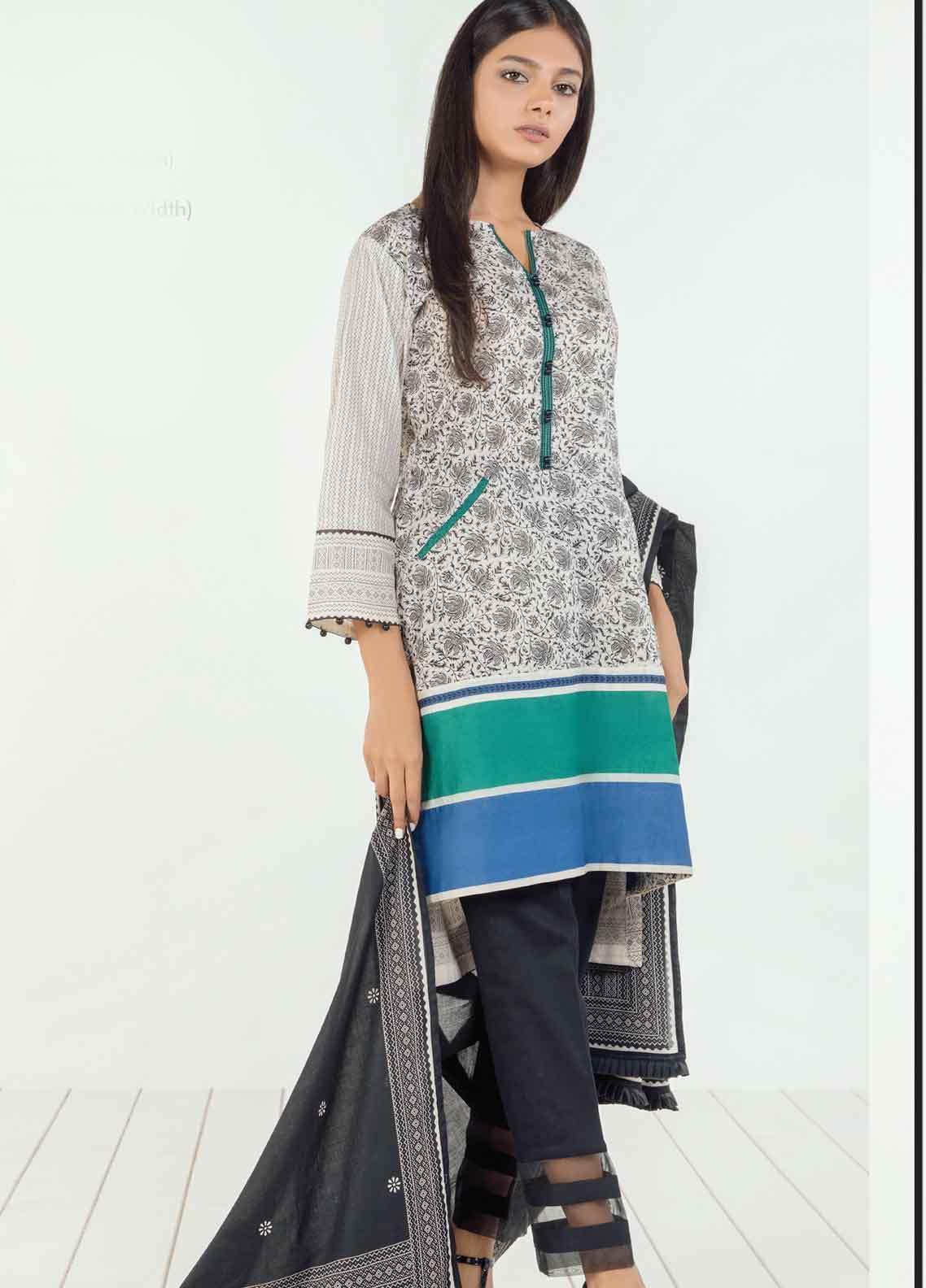 Orient Textile Printed Lawn Unstitched 3 Piece Suit OT19BW 119 - Black & White Collection