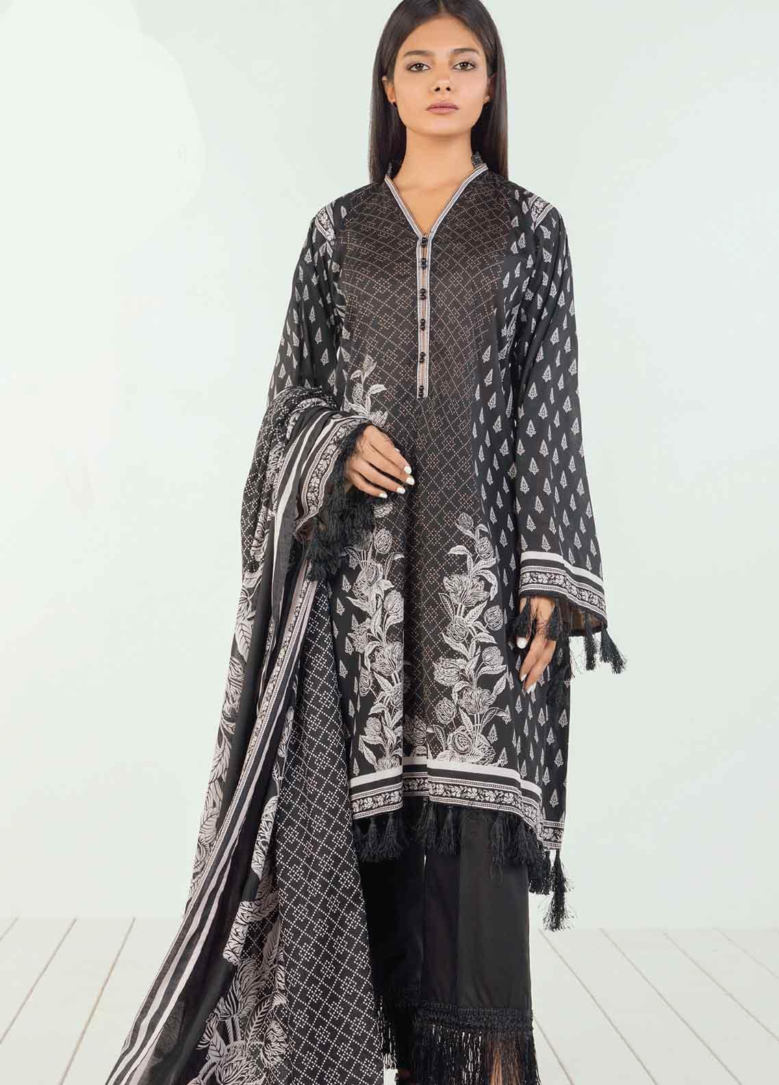 Orient Textile Printed Lawn Unstitched 3 Piece Suit OT19BW 126 - Black & White Collection