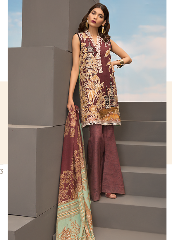 Sapphire Embroidered Khaddar Unstitched 3 Piece Suit SP17W Oriental Ornate A