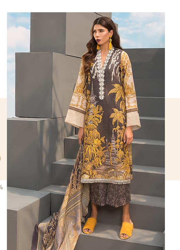 Sapphire Embroidered Khaddar Unstitched 3 Piece Suit SP17W Oriental Ornate B