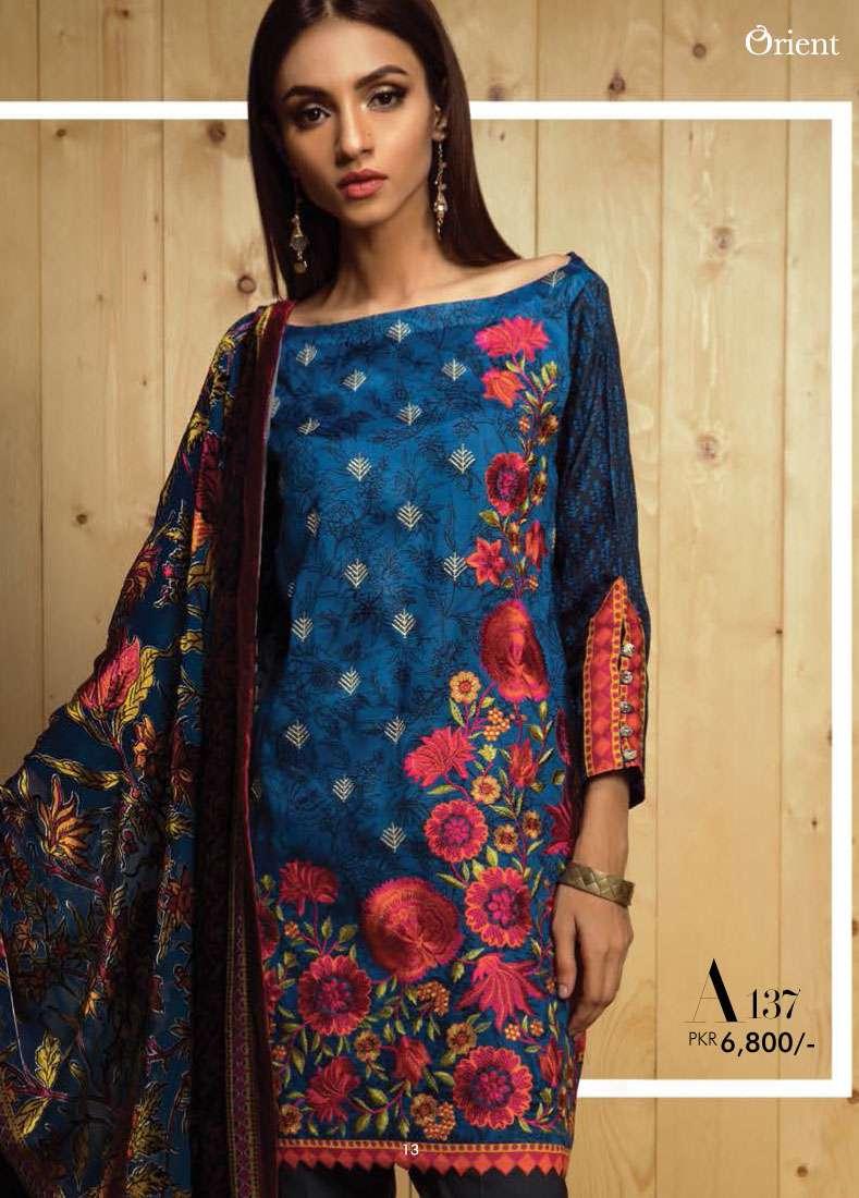 Orient Textile Embroidered Linen Unstitched 3 Piece Suit OT17W2 137A