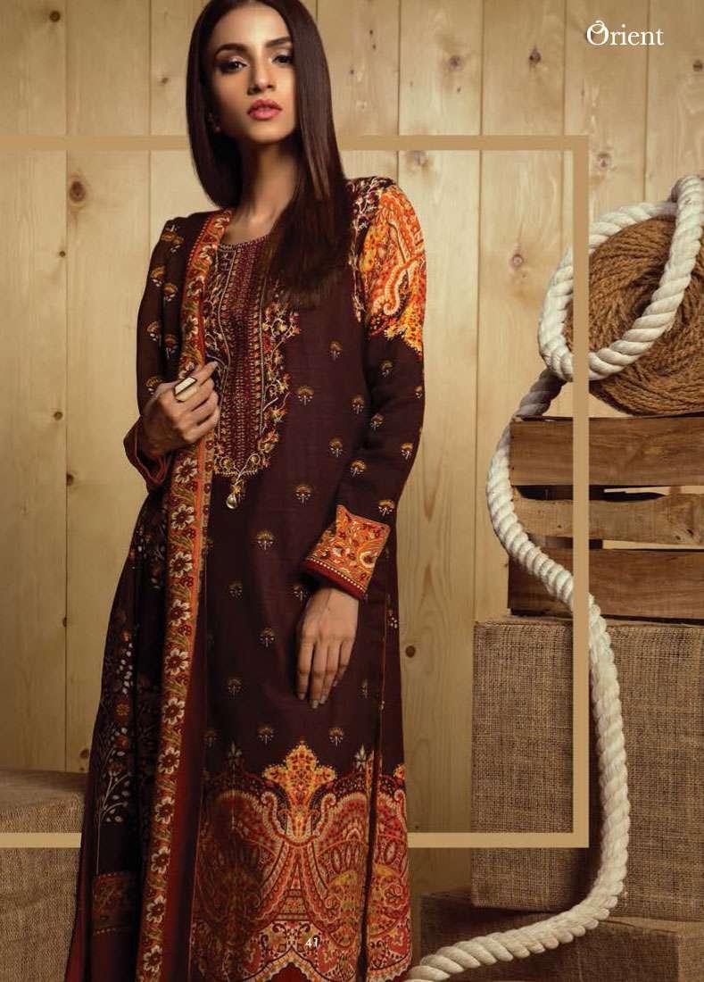 Orient Textile Embroidered Khaddar Unstitched 3 Piece Suit OT17W2 150B