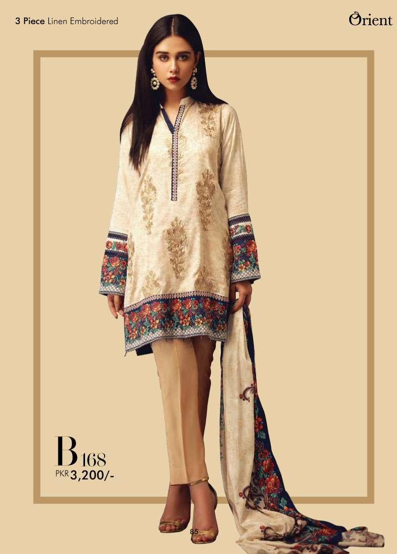 Orient Textile Embroidered Linen Unstitched 3 Piece Suit OT17W2 168B