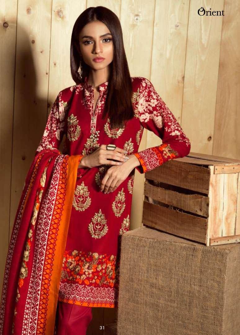 Orient Textile Embroidered Linen Unstitched 3 Piece Suit OT17W2 184B