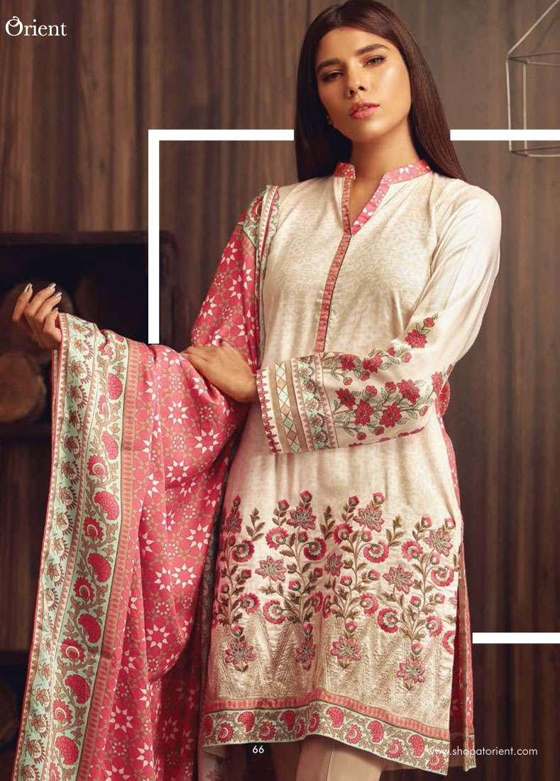 Orient Textile Embroidered Linen Unstitched 3 Piece Suit OT17W2 209A