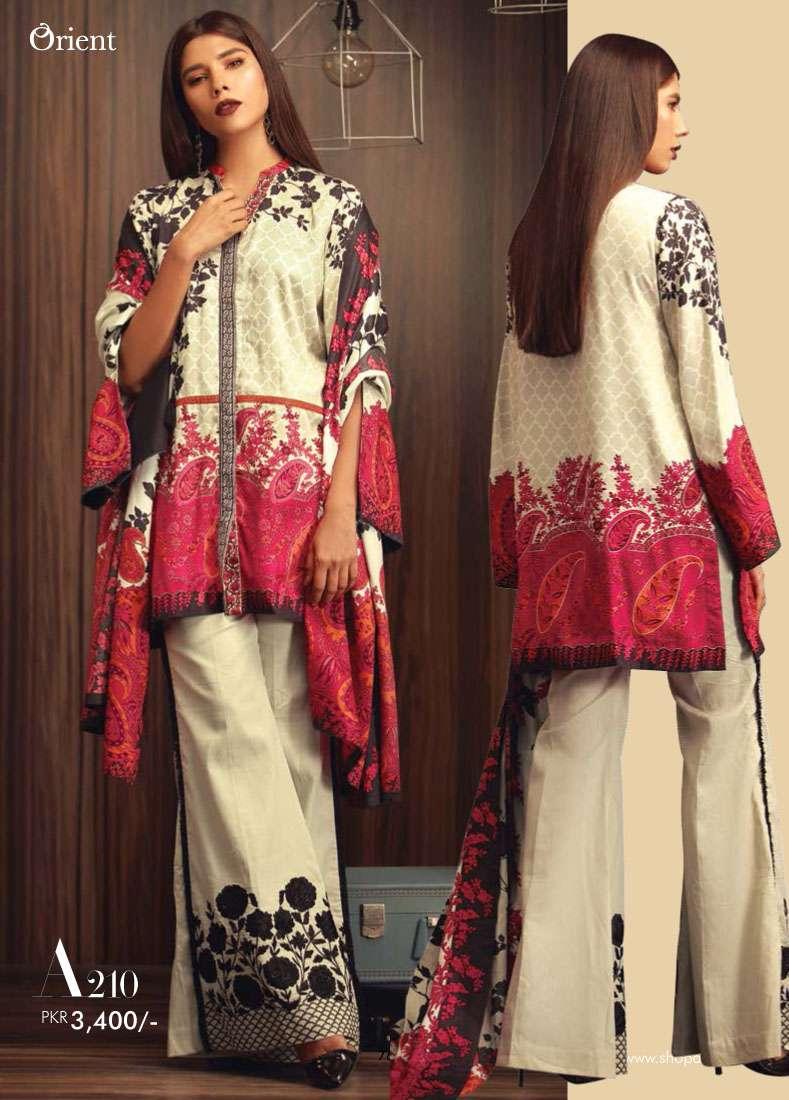 Orient Textile Embroidered Linen Unstitched 3 Piece Suit OT17W2 210A