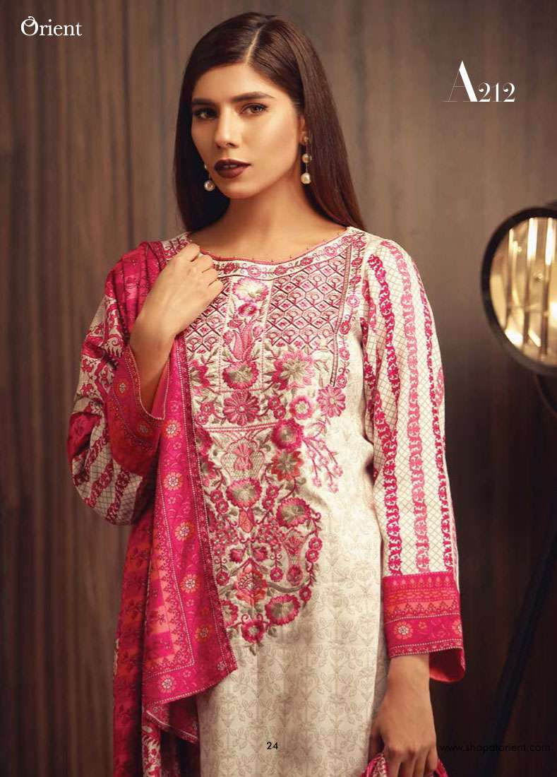Orient Textile Embroidered Linen Unstitched 3 Piece Suit OT17W2 212A