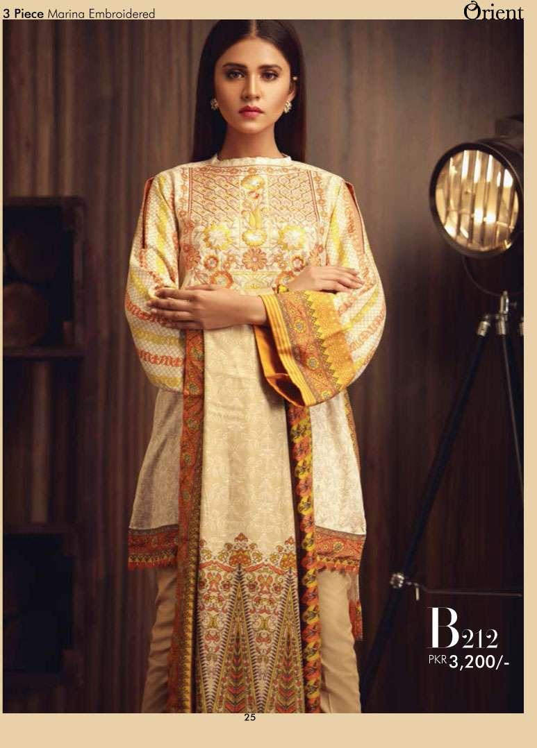 Orient Textile Embroidered Marina Unstitched 3 Piece Suit OT17W2 212B