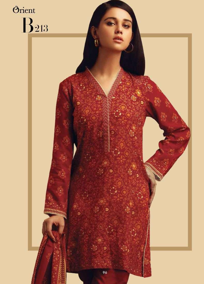 Orient Textile Embroidered Linen Unstitched 3 Piece Suit OT17W2 213B