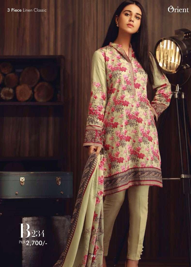 Orient Textile Embroidered Linen Unstitched 3 Piece Suit OT17W2 234B