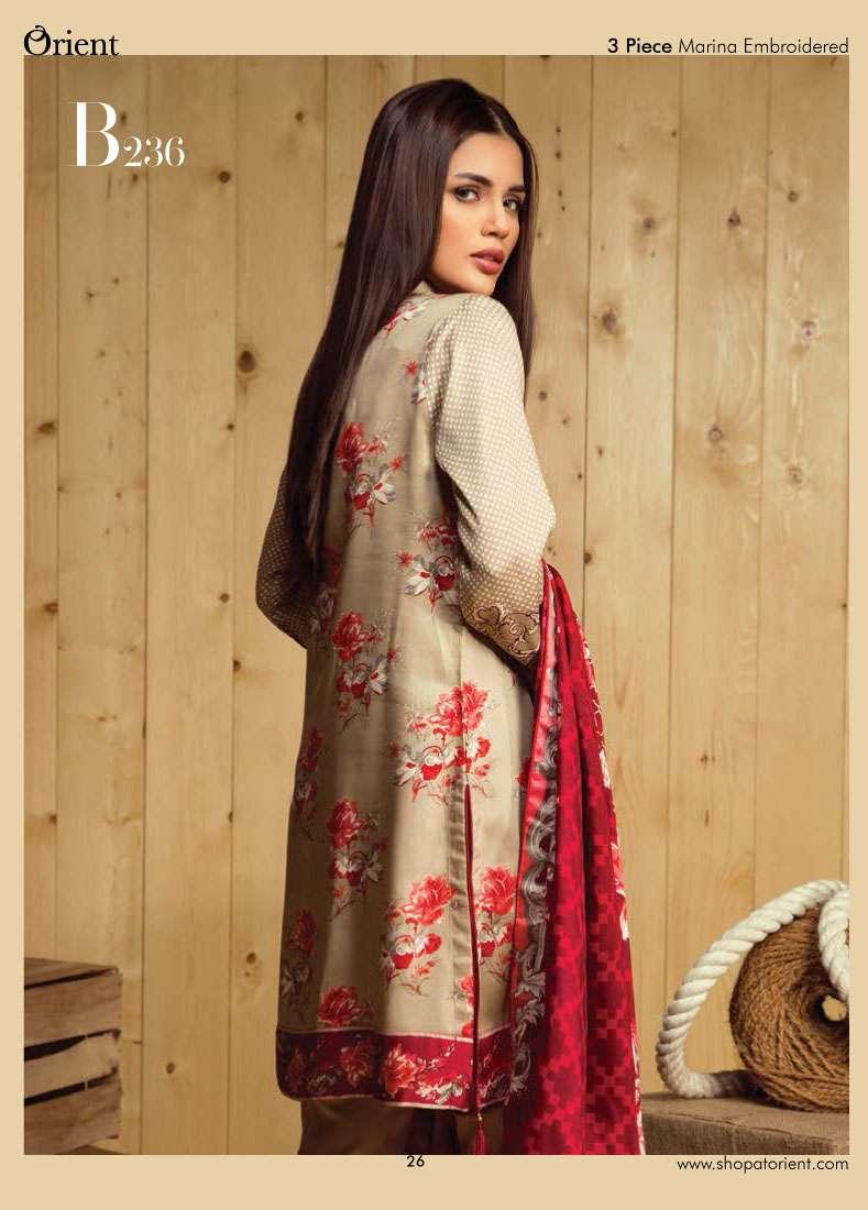 Orient Textile Embroidered Linen Unstitched 3 Piece Suit OT17W2 236B