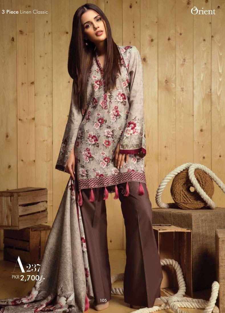 Orient Textile Embroidered Linen Unstitched 3 Piece Suit OT17W2 237A