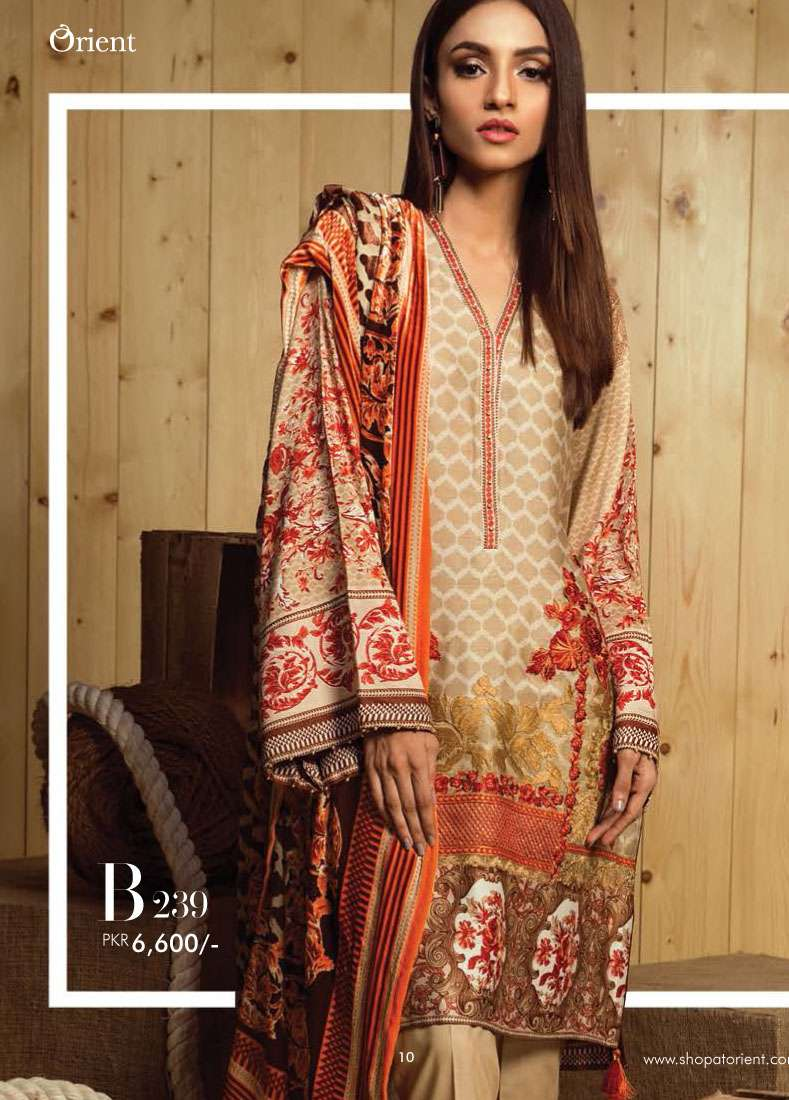 Orient Textile Embroidered Linen Unstitched 3 Piece Suit OT17W2 239B