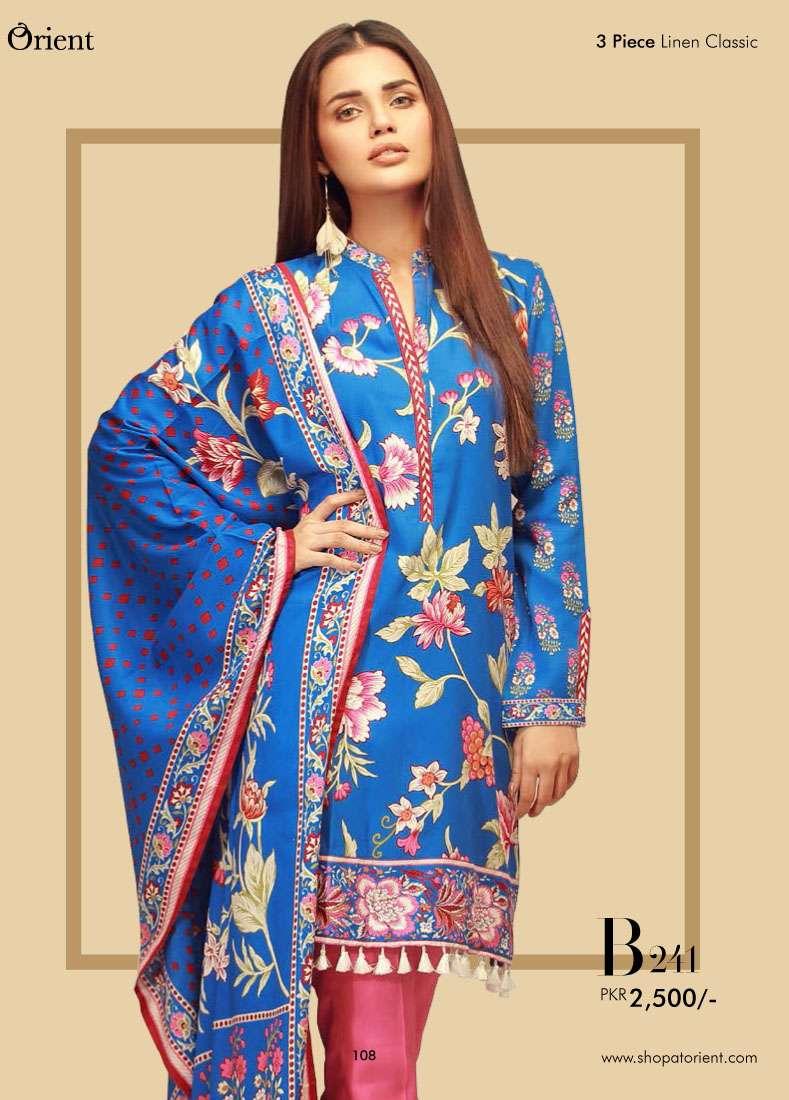 Orient Textile Embroidered Linen Unstitched 3 Piece Suit OT17W2 241B
