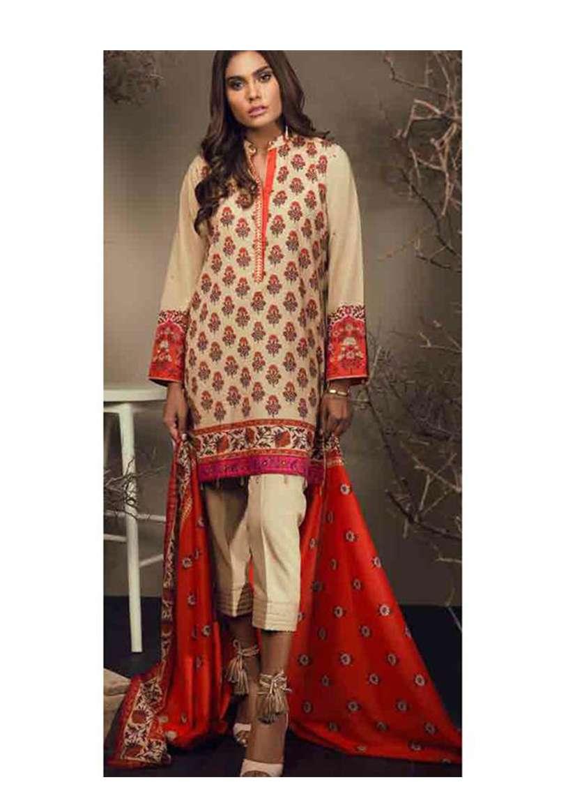 Orient Textile Embroidered Cottle Linen Unstitched 3 Piece Suit OT17W 133B
