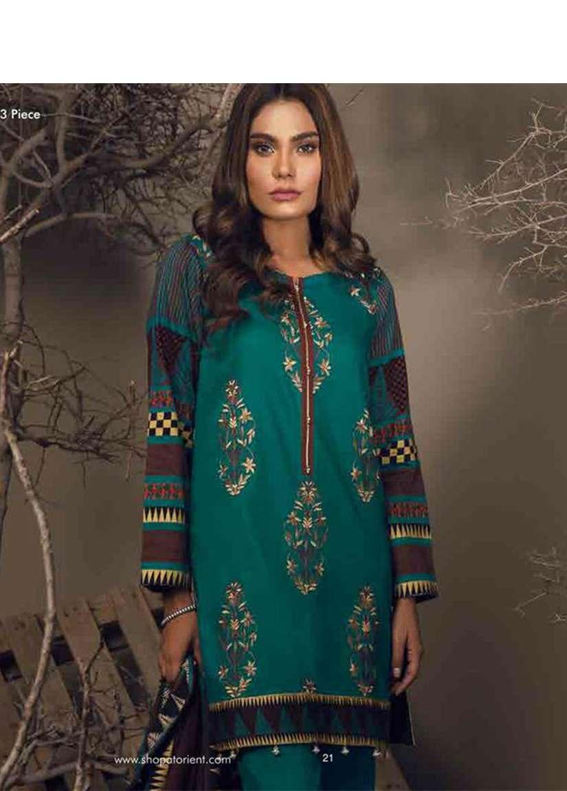 Orient Textile Embroidered Cottle Linen Unstitched 3 Piece Suit OT17W 140B