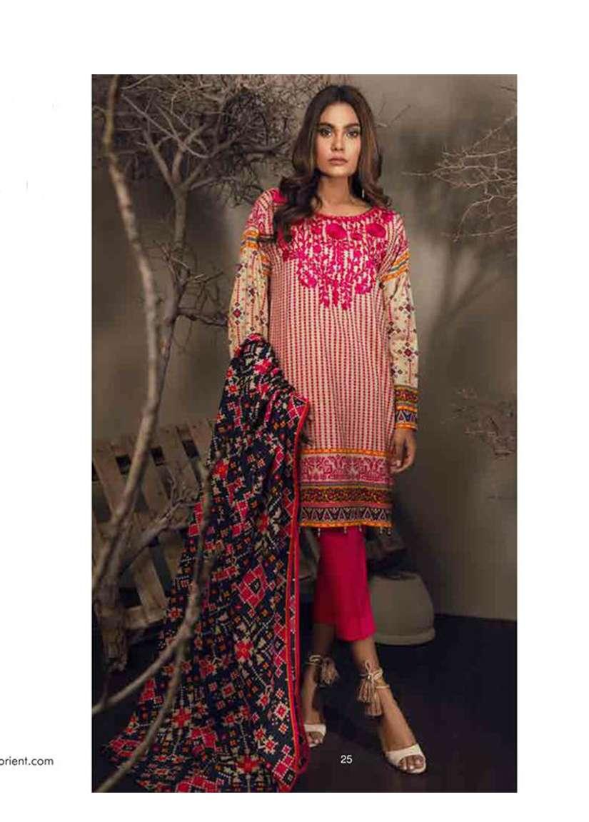 Orient Textile Embroidered Cottle Linen Unstitched 3 Piece Suit OT17W 142B