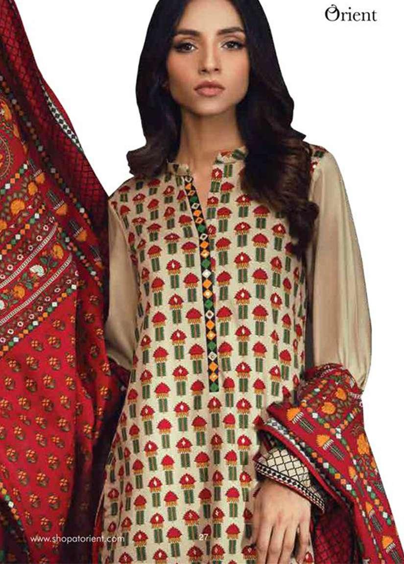 Orient Textile Embroidered Cottle Linen Unstitched 3 Piece Suit OT17W 144A