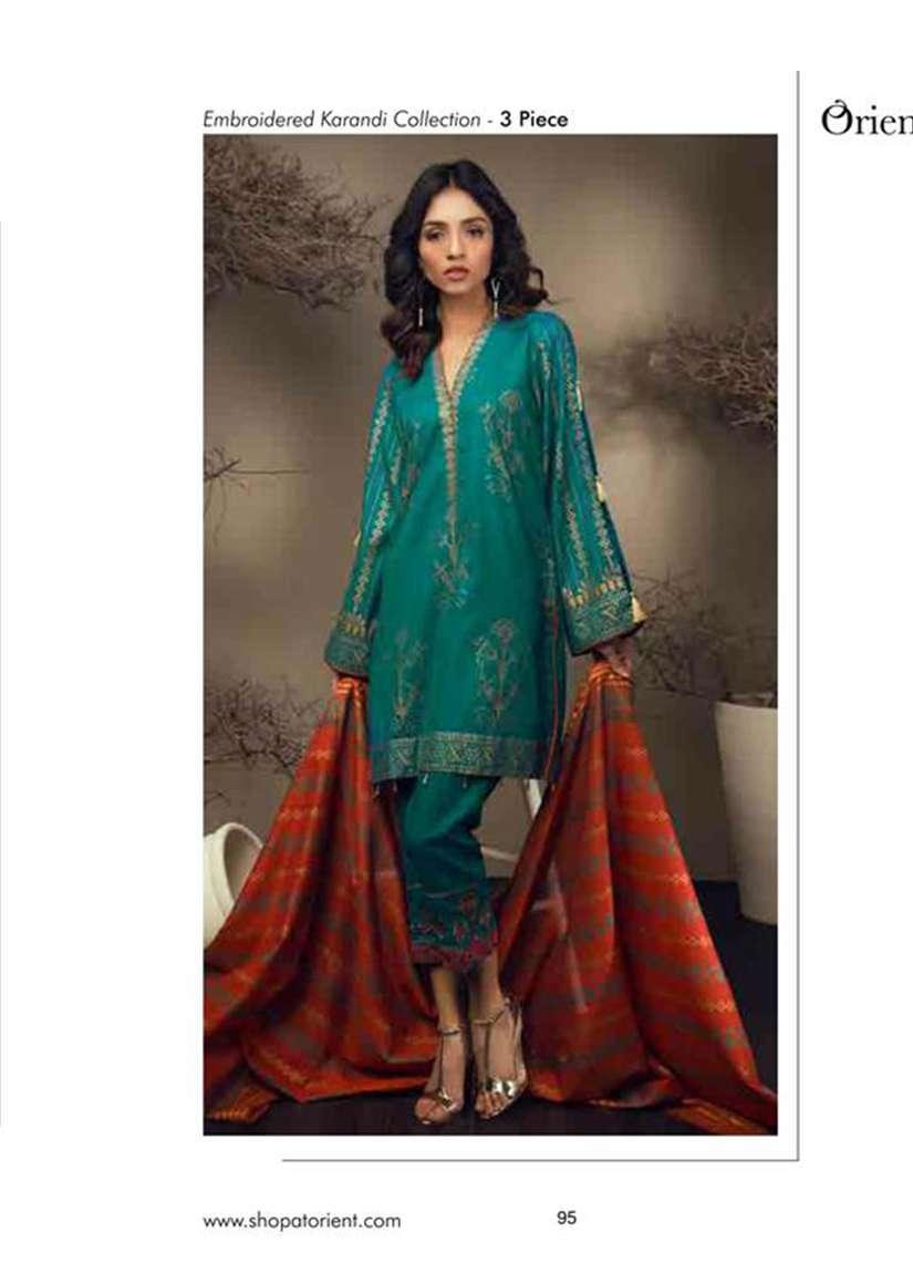 Orient Textile Embroidered Cottle Linen Unstitched 3 Piece Suit OT17W 148B