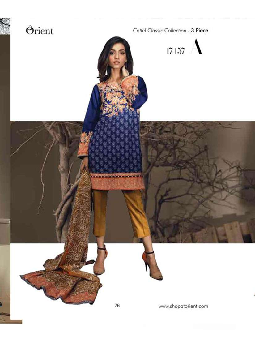 Orient Textile Embroidered Cottle Linen Unstitched 3 Piece Suit OT17W 157A
