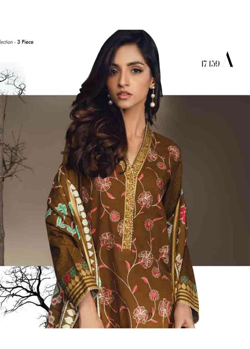 Orient Textile Embroidered Cottle Linen Unstitched 3 Piece Suit OT17W 159A