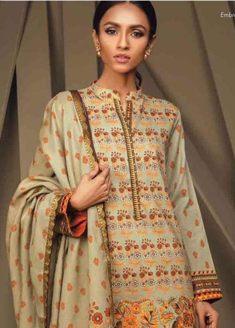 Orient Textile Embroidered Cottle Linen Unstitched 3 Piece Suit OT17W 202A