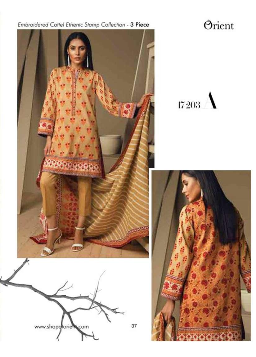 Orient Textile Embroidered Cottle Linen Unstitched 3 Piece Suit OT17W 203A