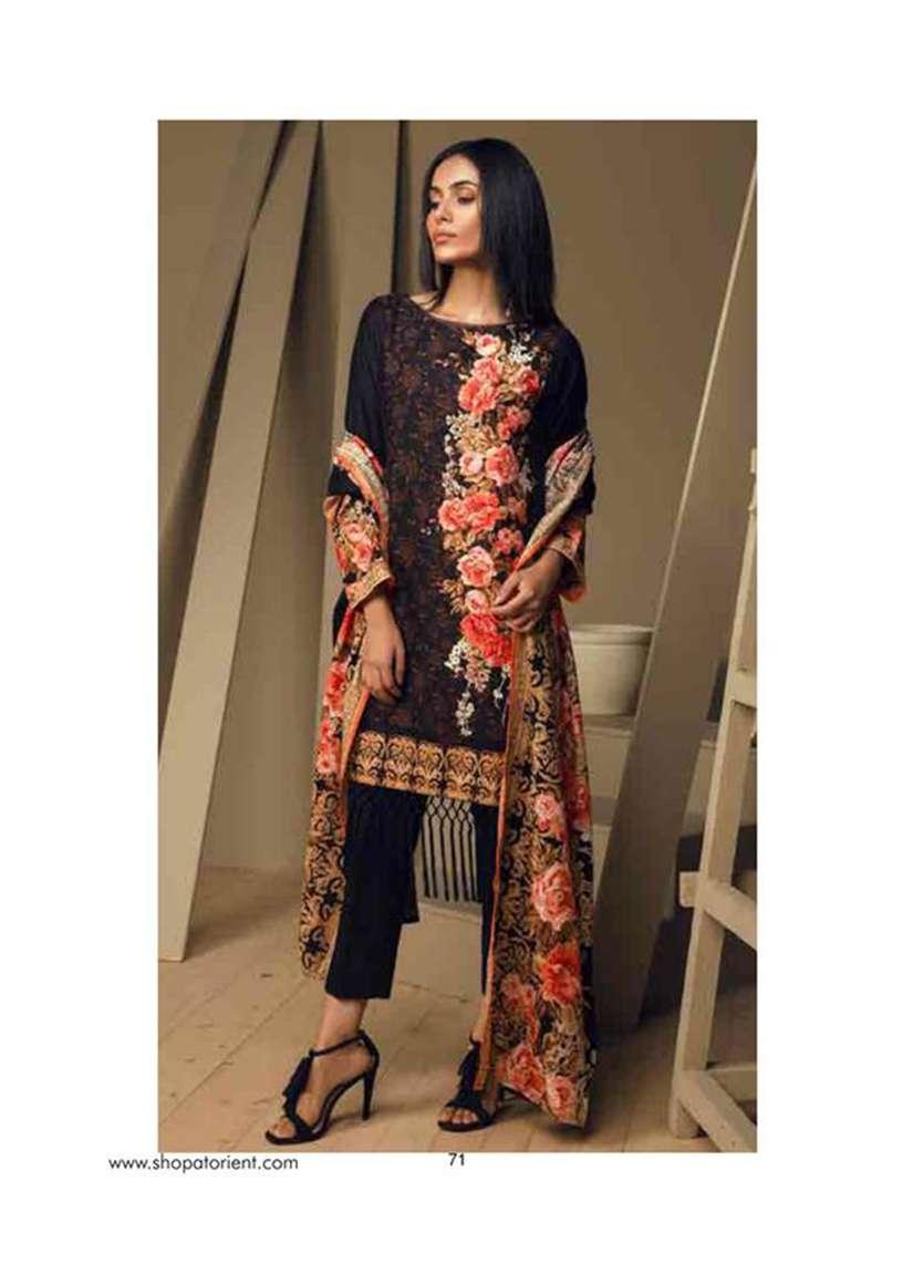 Orient Textile Embroidered Cottle Linen Unstitched 3 Piece Suit OT17W 204B