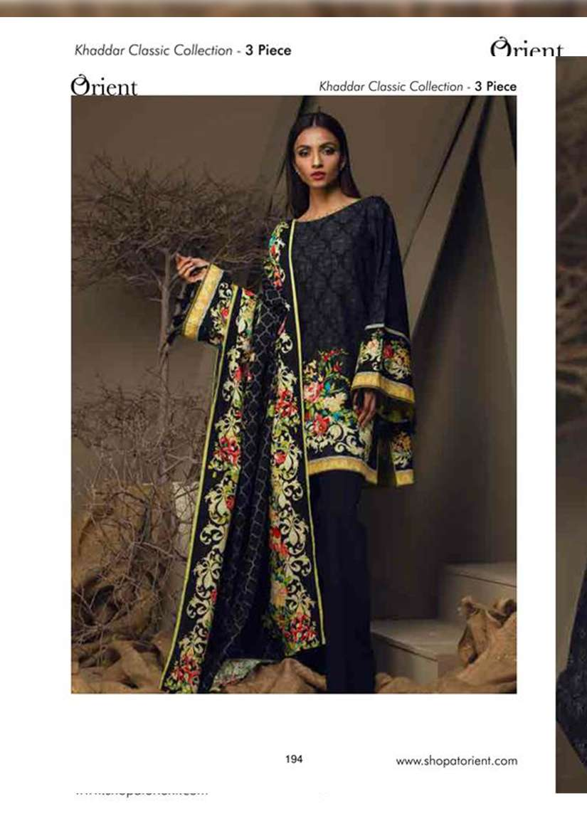 Orient Textile Embroidered Khaddar Unstitched 3 Piece Suit OT17W 214B
