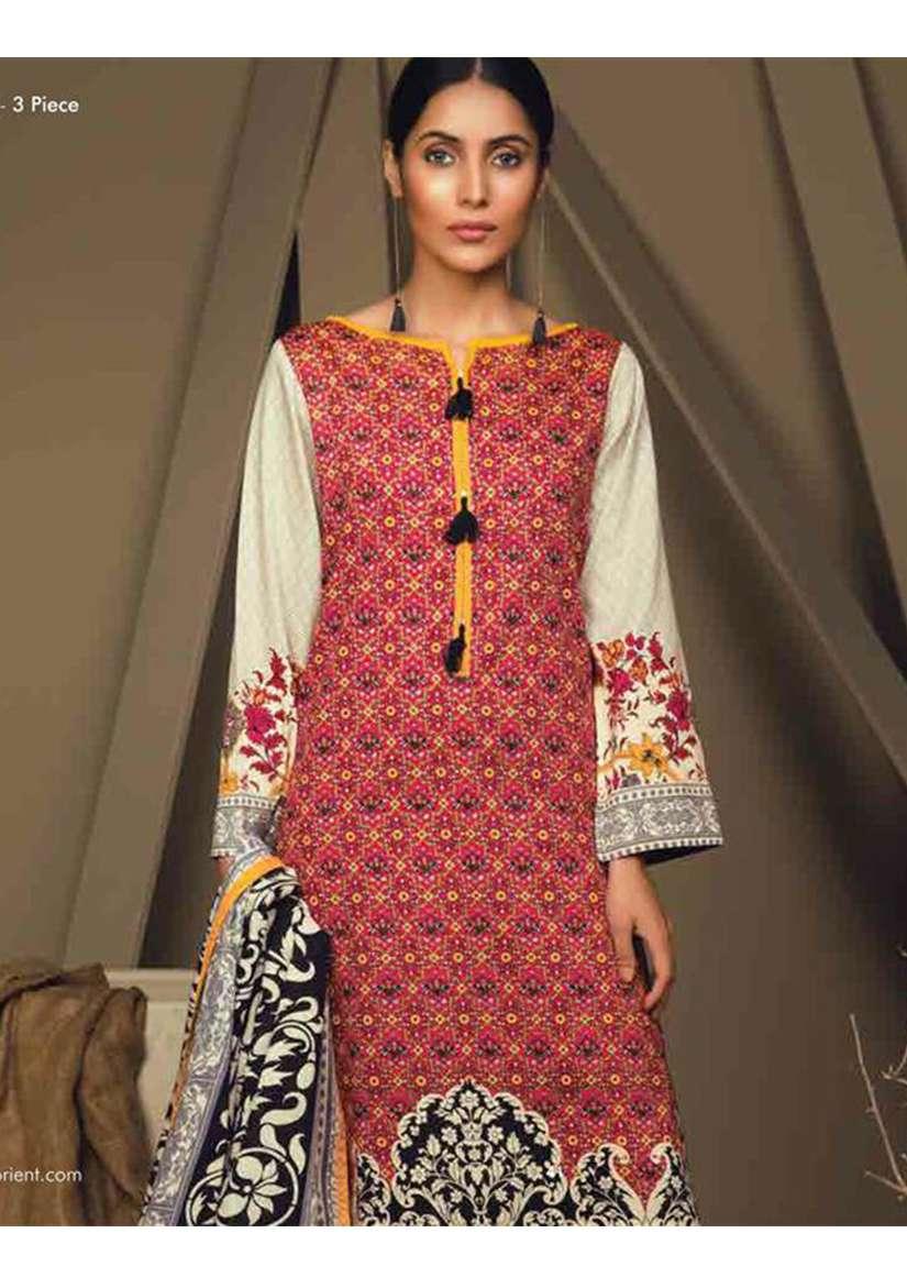 Orient Textile Embroidered Cottle Linen Unstitched 3 Piece Suit OT17W 226A