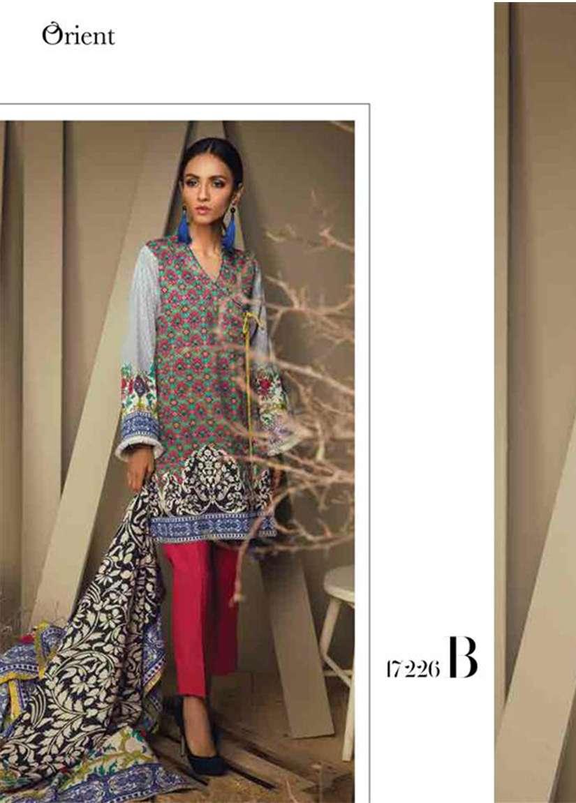 Orient Textile Embroidered Cottle Linen Unstitched 3 Piece Suit OT17W 226B