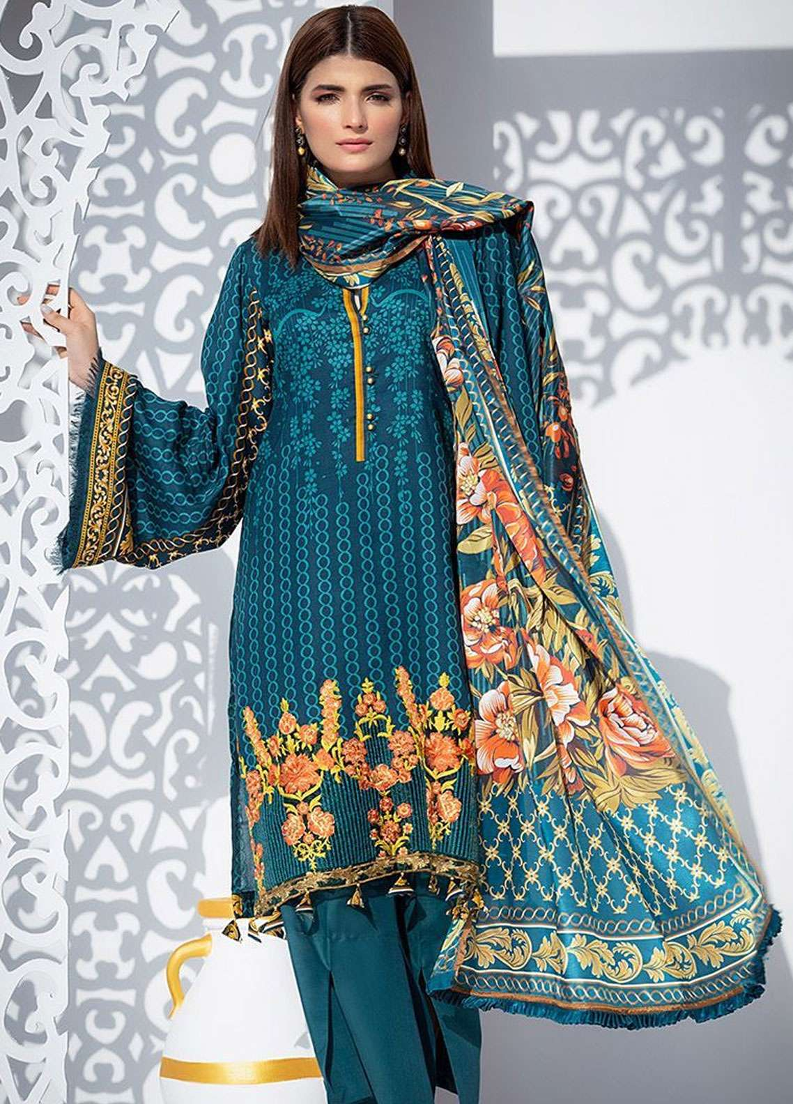 Orient Textile Embroidered Linen Unstitched 3 Piece Suit OT18W 245B Crimson - Winter Collection