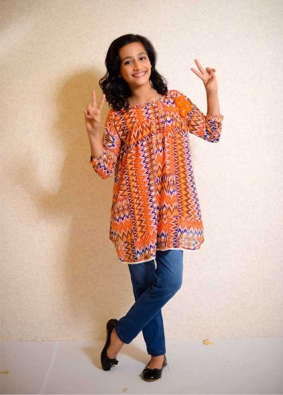 Ochre Chiffon Printed Tops for Girls - Orange OWT 138