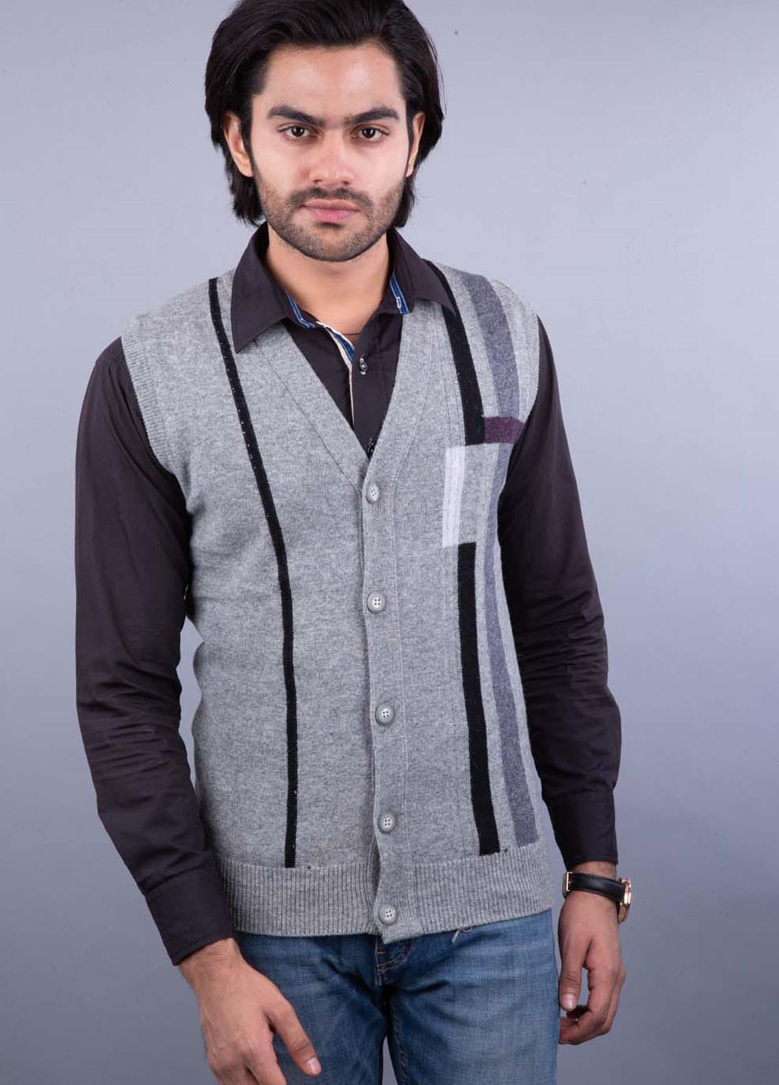 Oxford Lambswool Sleeveless Cardigan Men Sweaters -  459 S-L CRD GRAY MIX