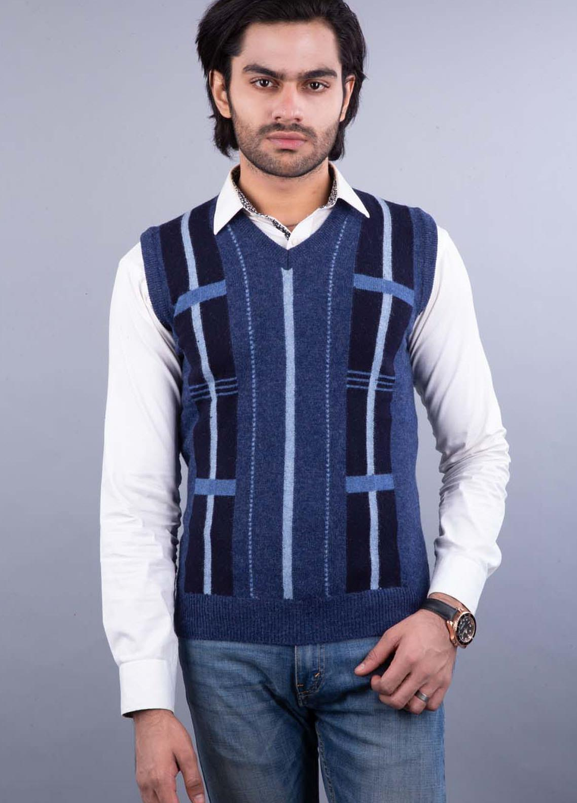 Oxford Lambswool Sleeveless Sweaters for Men -  503 LMB S-L BLUE