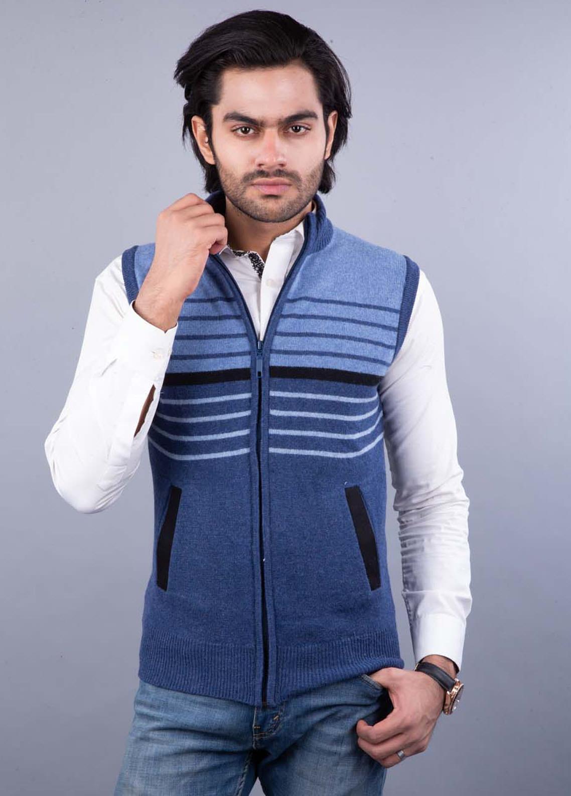 Oxford Lambswool Sleeveless Zipper Men Sweaters -  521 S-L ZIP BLUE