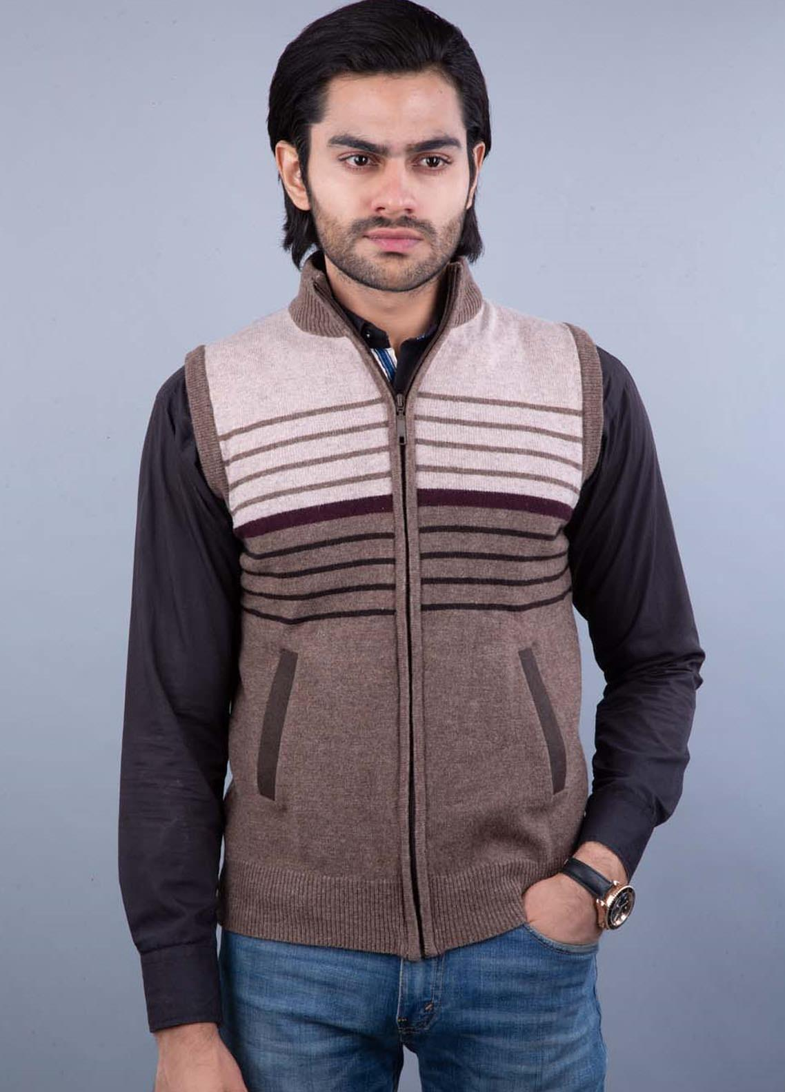 Oxford Lambswool Sleeveless Zipper Sweaters for Men -  521 S-L ZIP BROWN